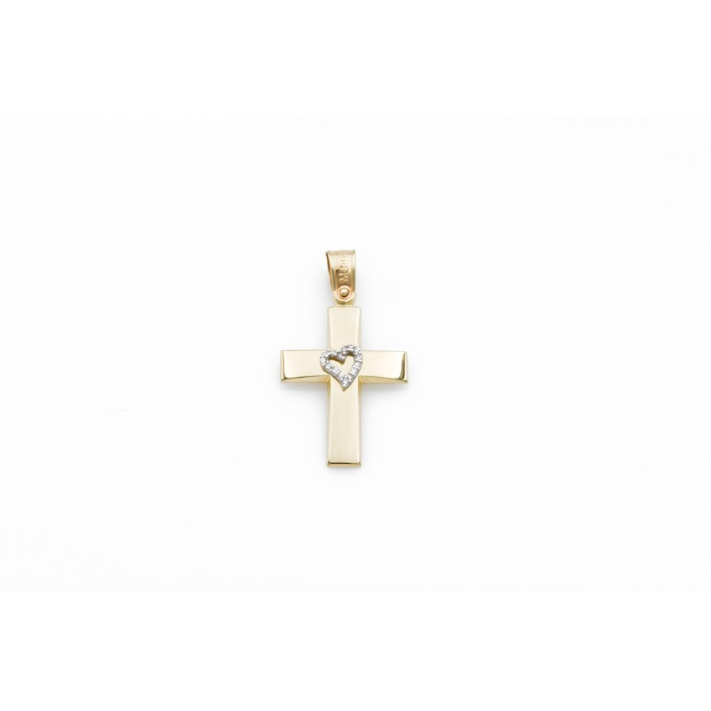 Gold Cross k14 with heart 87988