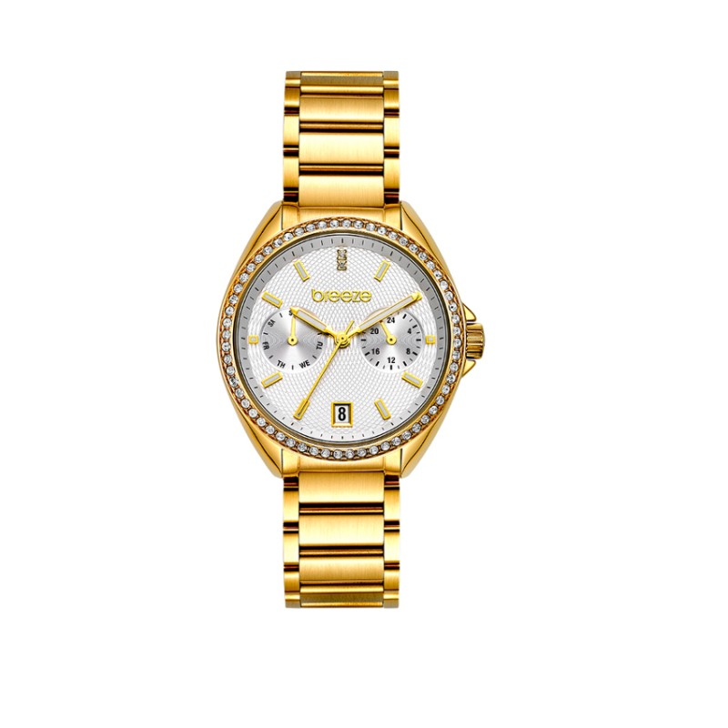 BREEZE Royalisse Crystals Series Multifunction 38mm Gold Stainless Steel Bracelet 212161.2