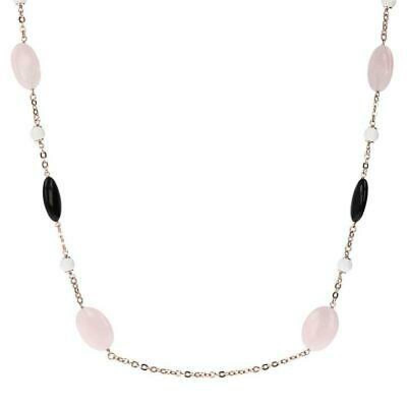 Bronzallure necklace with pink quartz and black onyx  WSBZ01245.RQ-BO