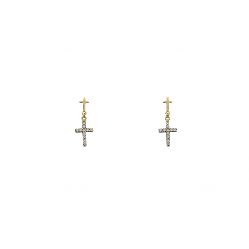 Gold Cross Earings 43010