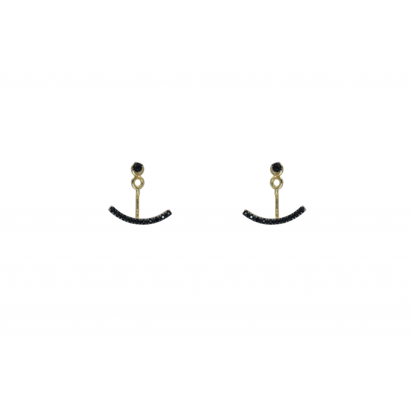 Gold k14 earings with black CZ 86088