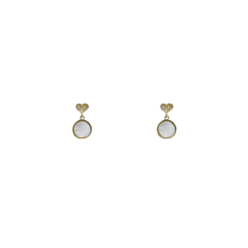 Gold Earings with CZ and MOP 90988