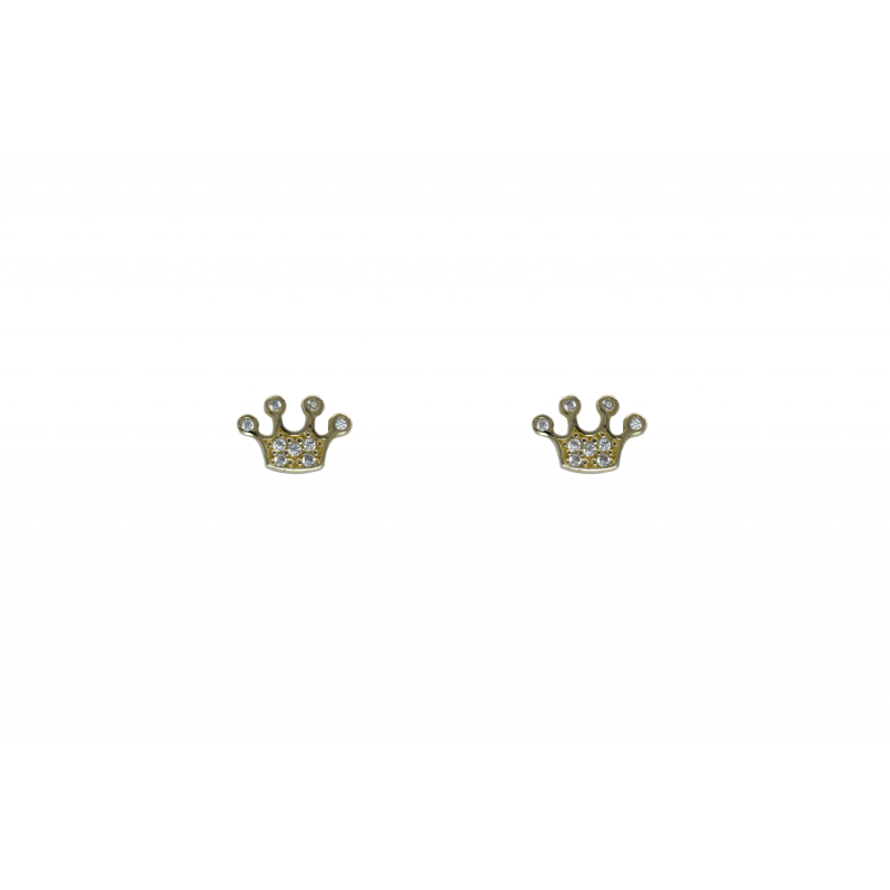 Gold Earings crown with CZ 96282