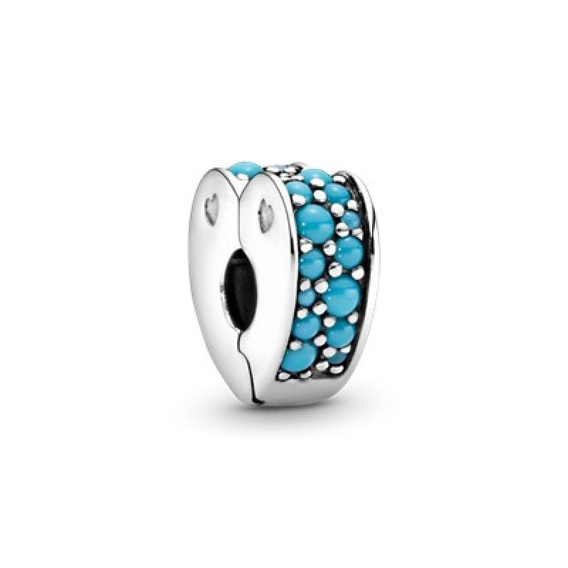 Blue Pave Heart Clip Charm 797227NYA